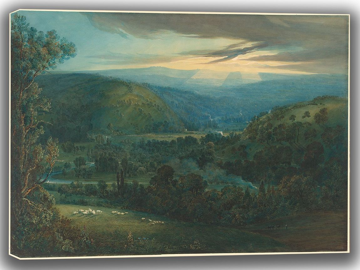 Turner, Joseph Mallord William: Dawn in the Valleys of Devon. Fine Art Canvas. Sizes: A4/A3/A2/A1 (003543)